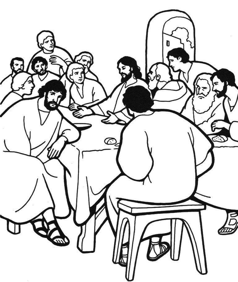 The Last Supper Coloring Page Bible Coloring Pages Coloring
