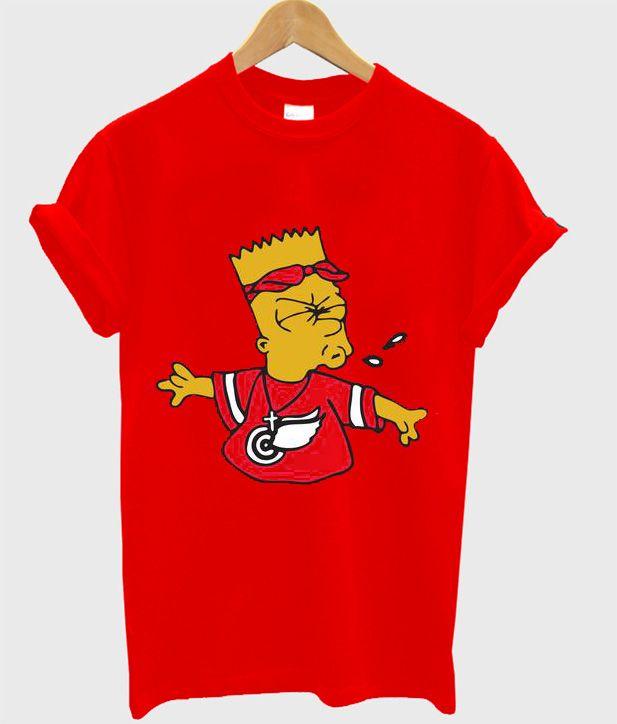 3d7336fb Tupac Bandana Bart Simpson Spitting Bart Red T-Shirt   T-Shirt   T ...