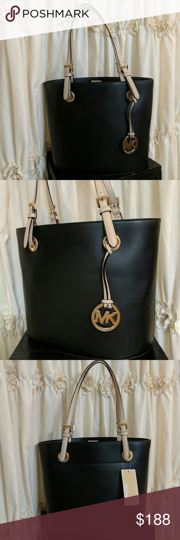 59ee85ab952 NWT Michael Kors Jet Set Medium Leather Tote Beautiful black and nude  leather bag featuring signature MK Logo charm and gold tone accents.