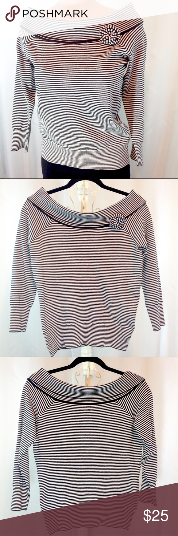 "INC International Concepts Striped Knit Top EUC Excellent condition! Like new! Black and white striped boat neck knit top. Silk blend. See tag pic. Super cute! 3/4 sleeves. Medium. Bust 17.5"" across laying flat. Length 22"" 🔹Please ask all your questions before you purchase!  🔹Sorry, no trades or holds. 🔹Please use Offer Button! 🔹Bundle for your best prices! INC International Concepts Tops Blouses"