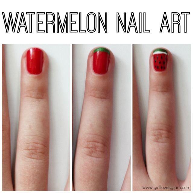 Easy Watermelon Nail Art Tutorial On Girllovesglam Style