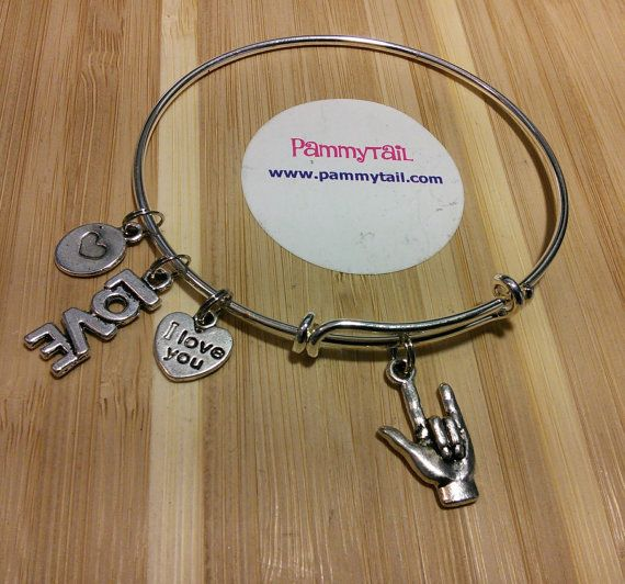 ASL I love you expandable charm bracelet w/ hand sign by Pammytail