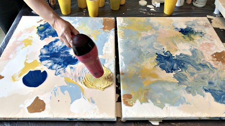 Paint Pour In Peaches Pinks And Blues Diy Painting Painting Diy Art Projects