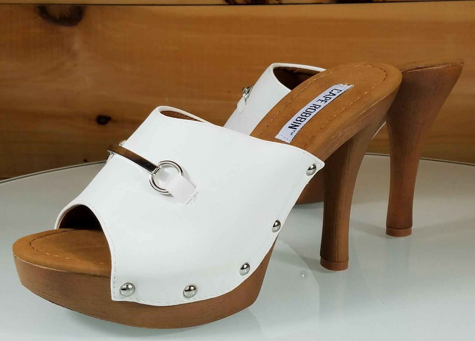 2e9efc1b2ed8 CR Slide White Silver Decor Faux Wood Slip On Mule Clog 4.5