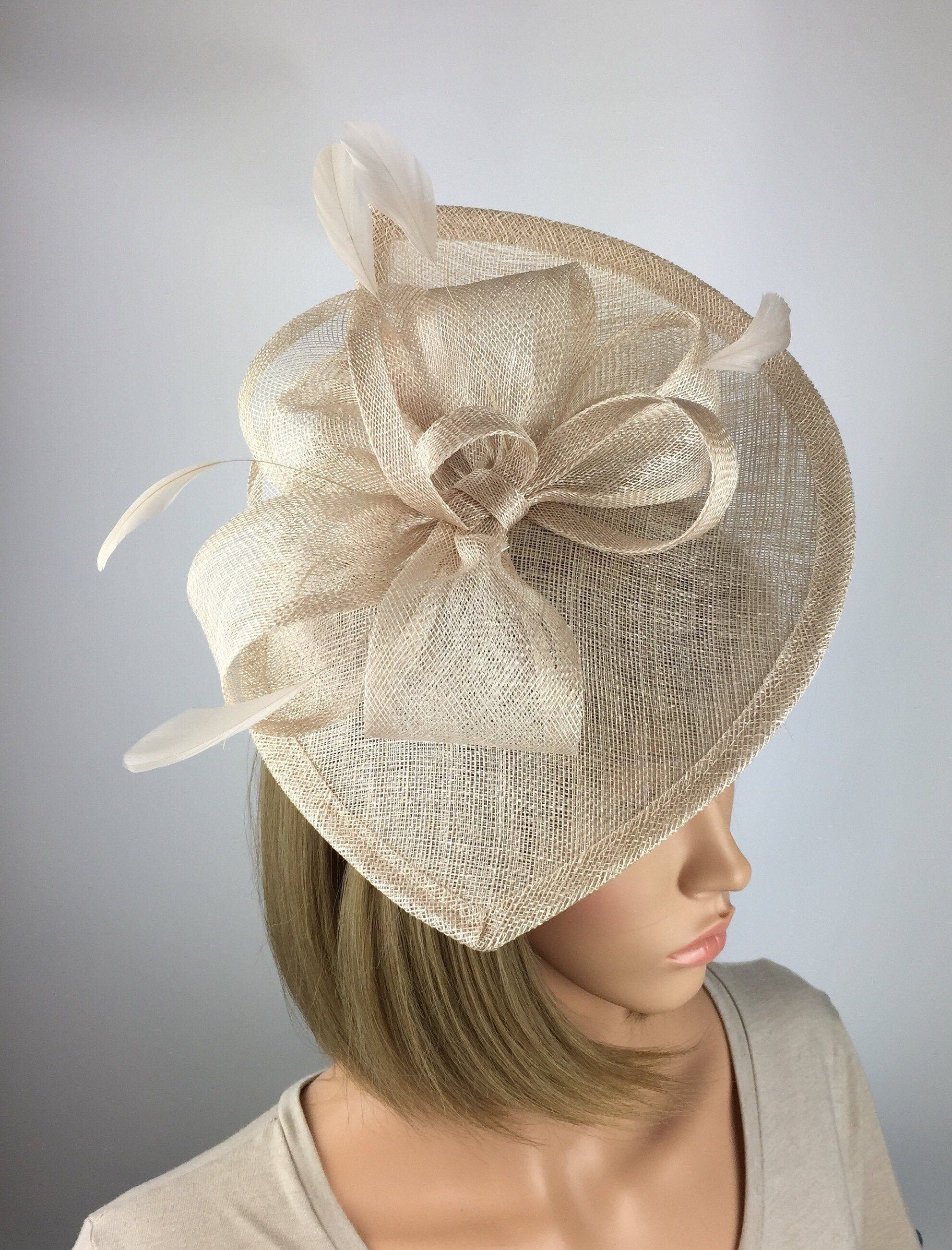 NUDE WEDDING HAT FORMAL FASCINATOR  MOTHER OF THE BRIDE FORMAL OCCASION RACES