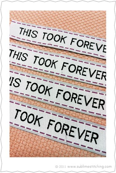 """""""This took forever"""" label for your handmade gifts- I totally want these!"""