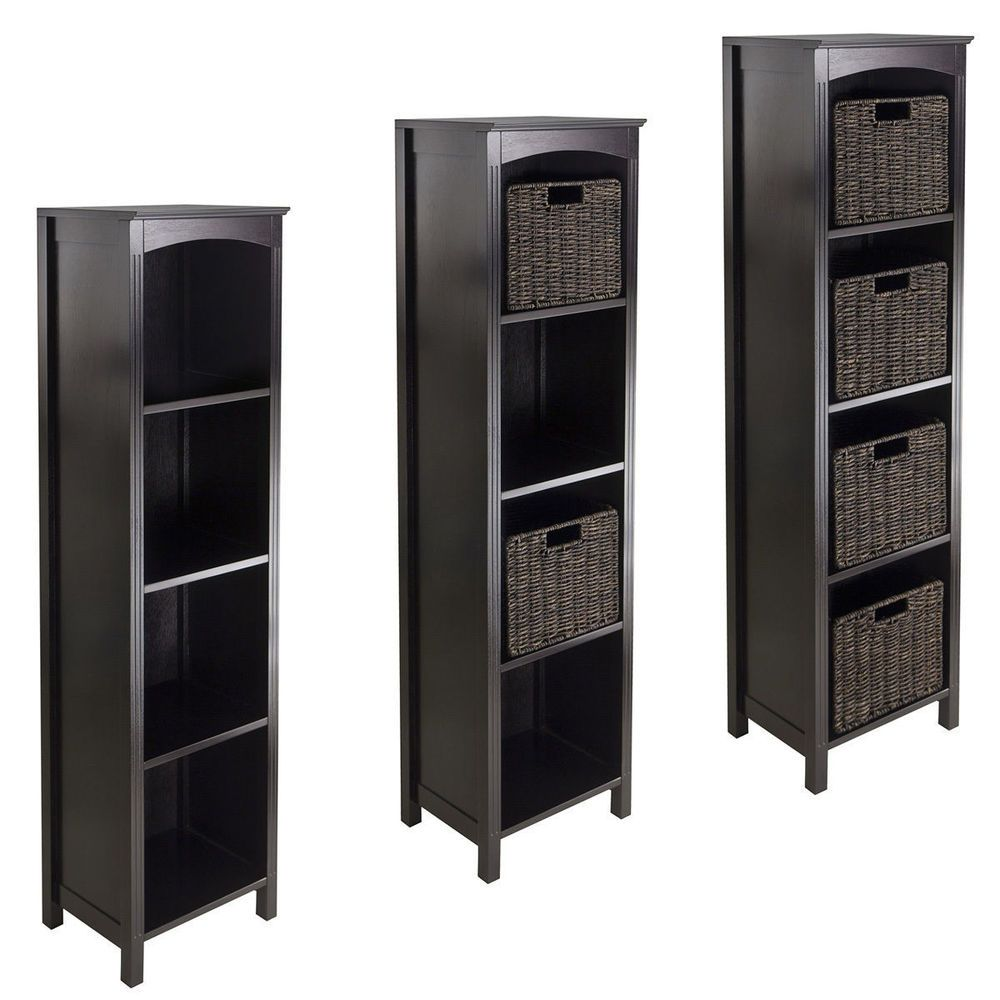 Black Wood Bookcase Narrow Tall Storage Office Cabinet Organizer