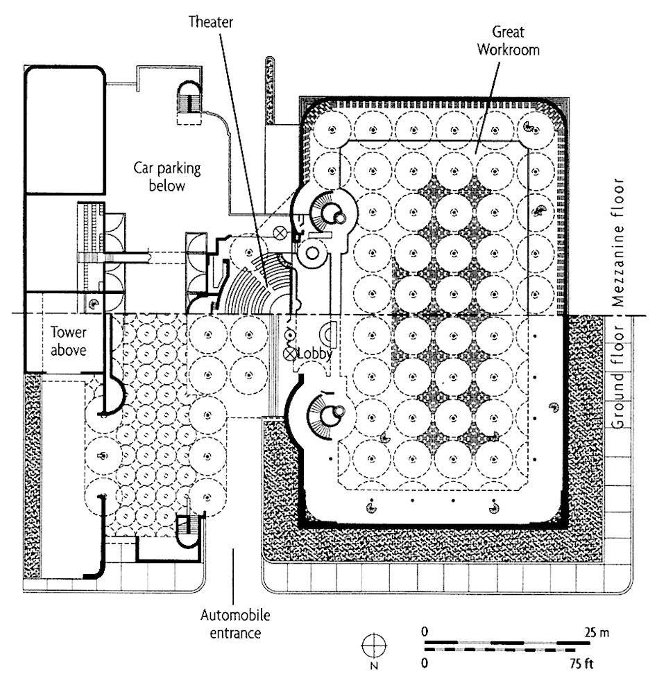 Frank Lloyd Wright Johnson Wax Headquarters Plan 1936 Wisconsin Wax