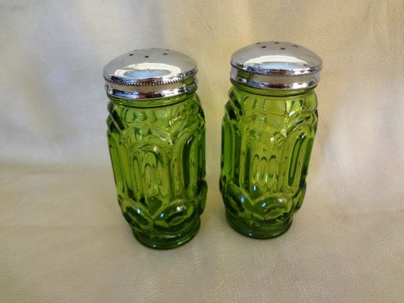 Vintage Green Glass Salt and Pepper Shaker by TheCherishedElement, $18.50