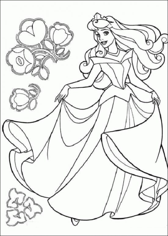 Princess Aurora Happy Dancing Coloring Pages Coloriage La Belle Au