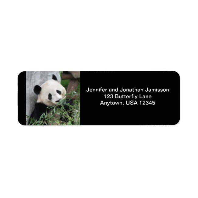 Cute Giant Panda Black Return Address Labels
