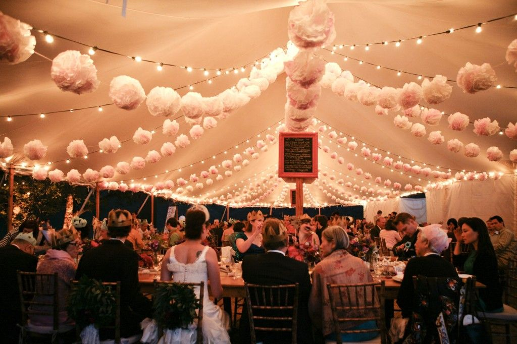 Tent With Paper Pom Poms And Bistro Lighting Tent Decorations