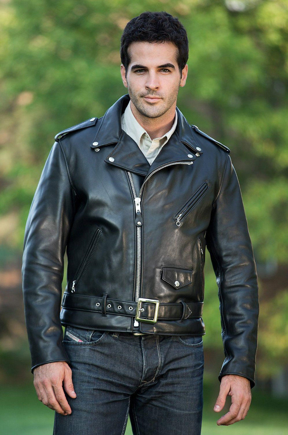guy in a black biker leather jacket Leather jacket men
