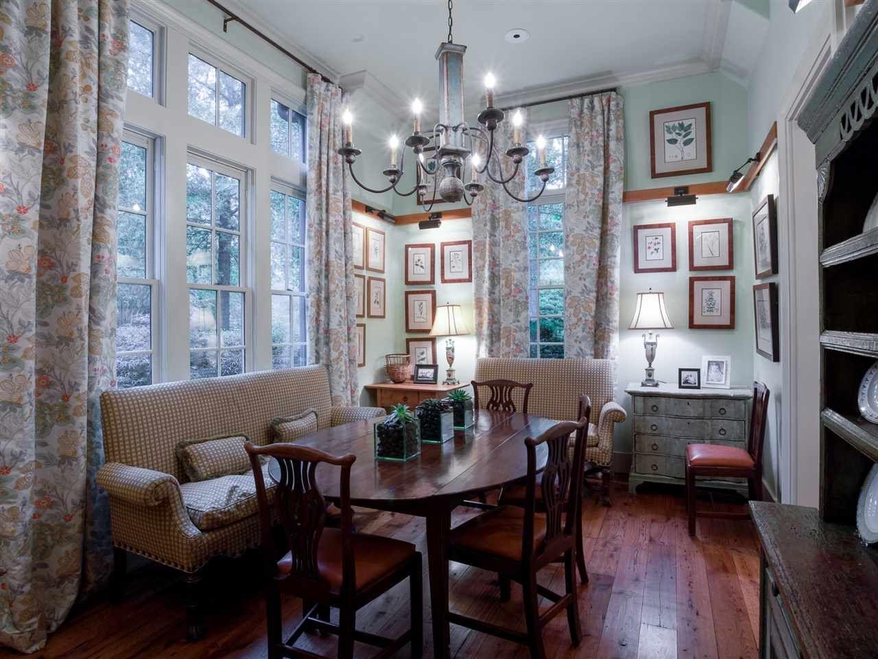 Bench space-saving, tall ceilings and beautiful windows