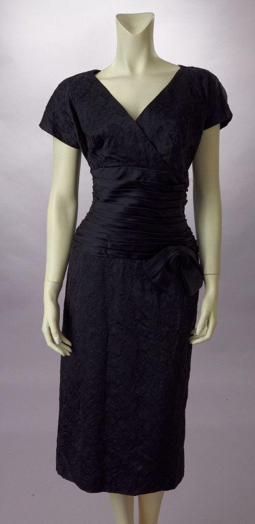 Black Embroidered Silk W/Pleated Waist, 1950's