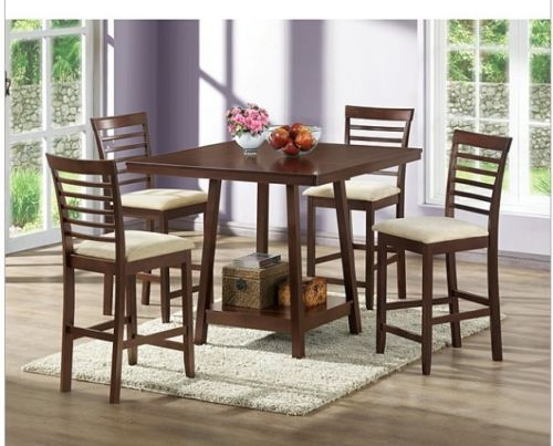 Comfy Dining Room Chairs Interesting Counter Height 5 Peice Bar Stool Dining Room Table Set Padded Wood Design Decoration