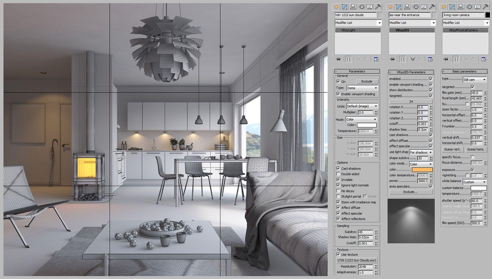 Scandinavian Interior   3D max in 2019   3ds max tutorials
