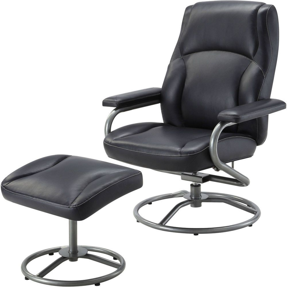 Black recliner swivel chair with ottoman footrest stool