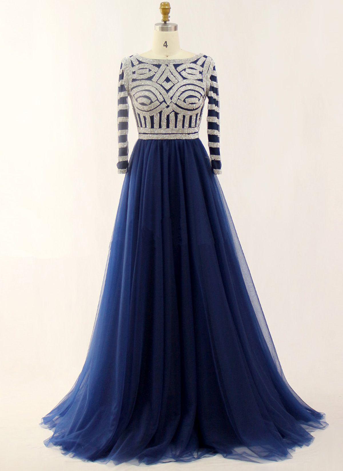 Deep blue tulle beaded long sleeve formal prom dress