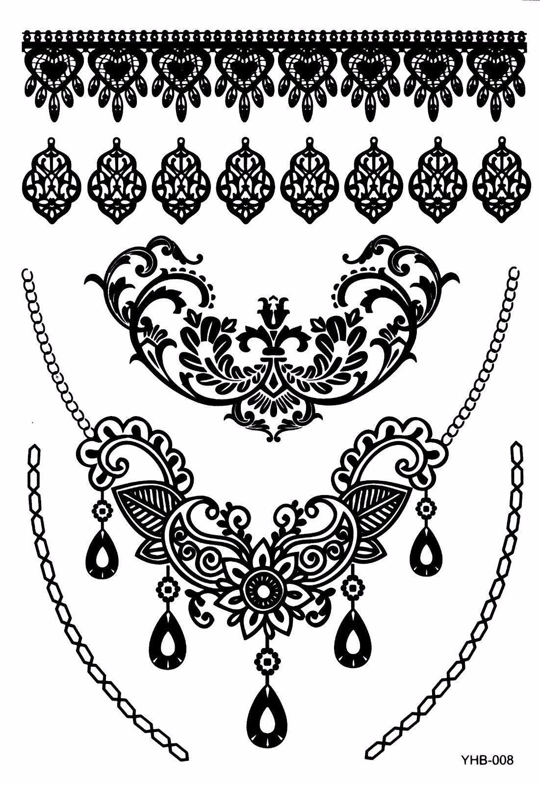 6 sheets black lace temporary tattoo black ink henna