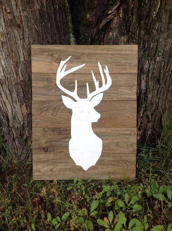 T te de cerf grande silhouette bois signe par thepinkhammershop dessins en 2018 pinterest - Dessin tete de cerf ...