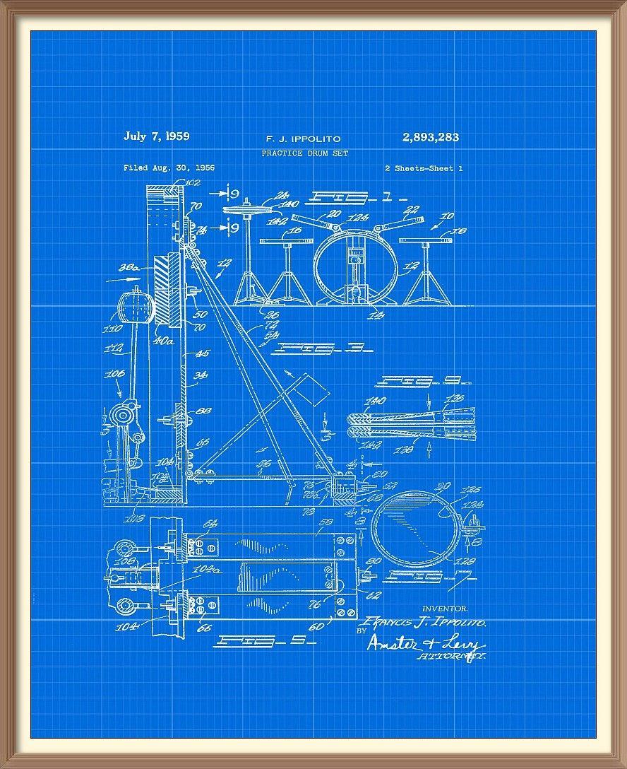 Vintage drum kit patent print 1959 set on a vintage blue blueprint vintage drum kit patent print 1959 set on a vintage blue blueprint background instant download malvernweather Image collections