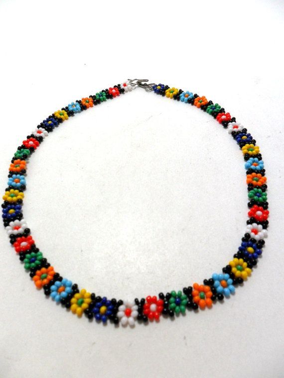 60s Hippie Necklace Beads Multi-Coloured