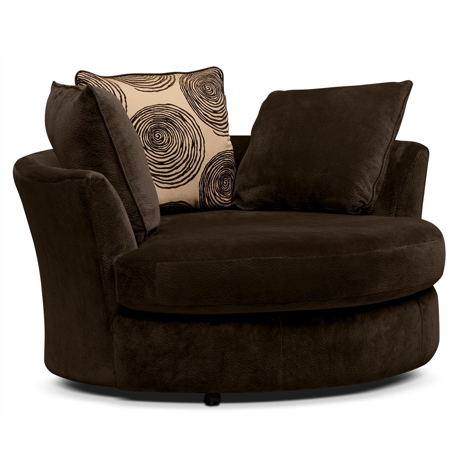 Living Room Furniture Catalina Chocolate Swivel Chair