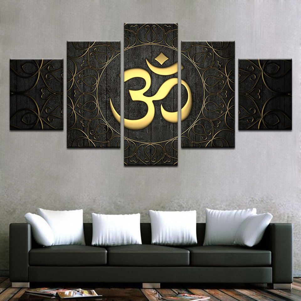 Buddha OM Hindu Symbol 5pcs Painting Printed Canvas Wall Art Home ...