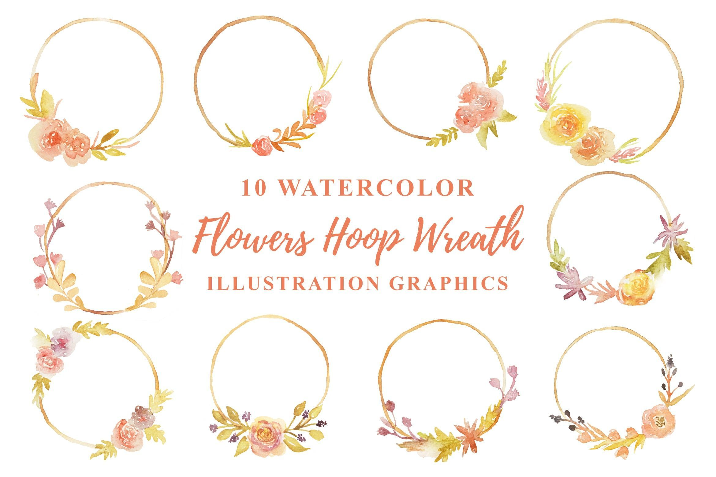 Photo of 10 Watercolor Flowers Hoop Wreath Illustration by IanMikraz on Envato Elements