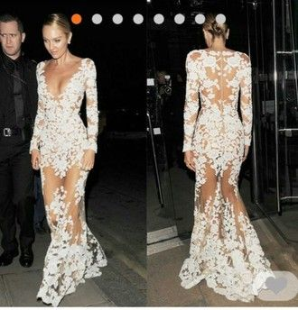 Dress Candice Swanepoel Pink By Victorias Secret White Long Lace Prom Gown