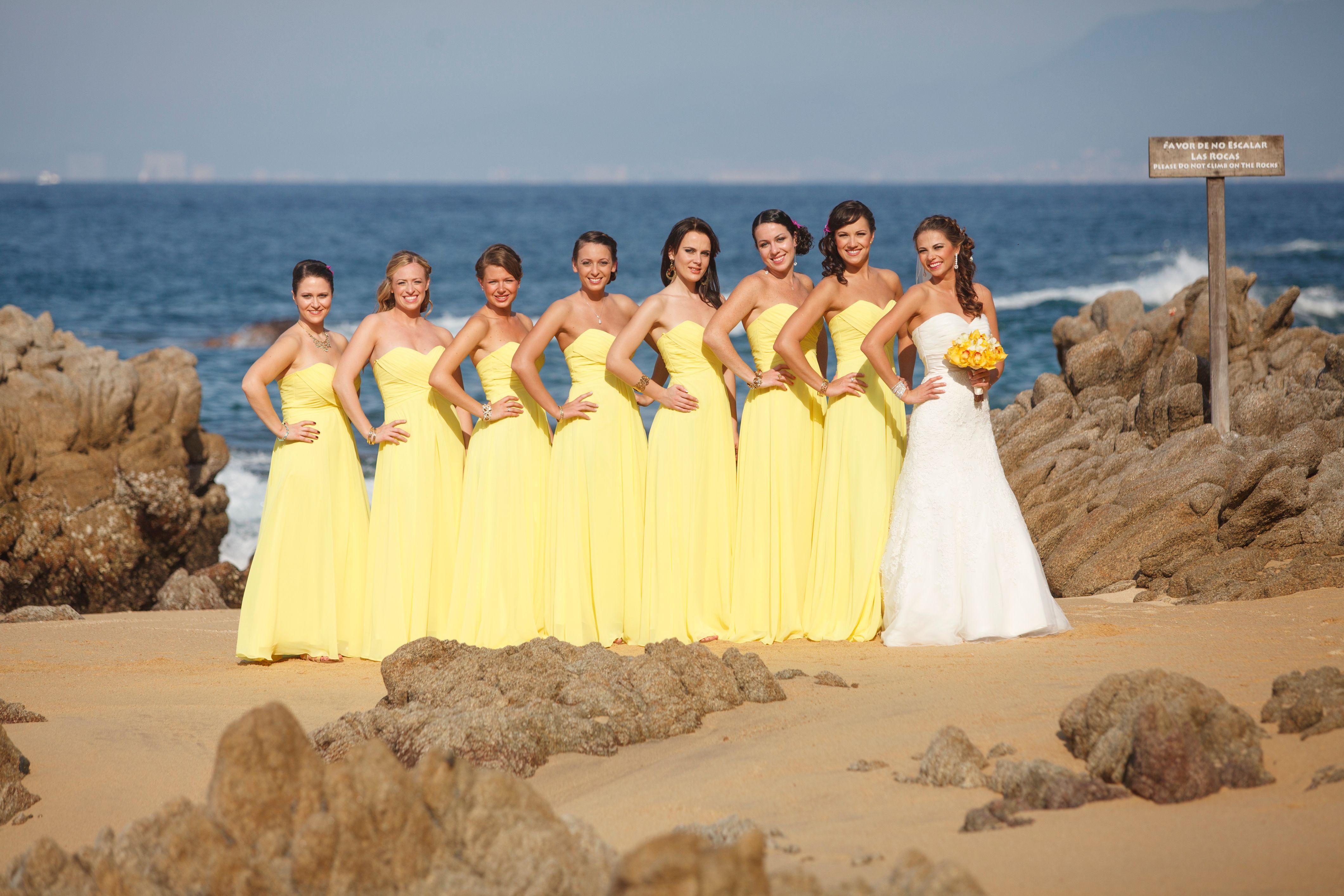 We Love The Yellow Dresses For A Beach Wedding Adventure Weddings At Las Caletas Dresspuerto Vallartabeach