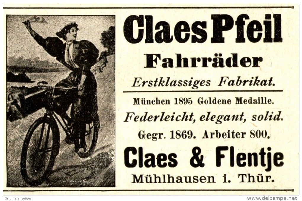 Original Werbung Anzeige 1898 Claes Pfeil Fahrrader Claes