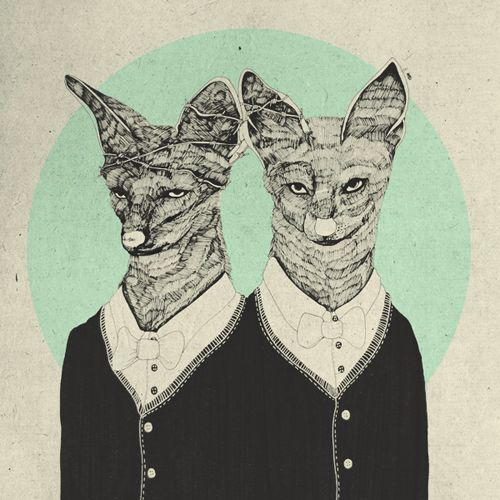 An old drawing of two jackals.  (Birdie Houdini)