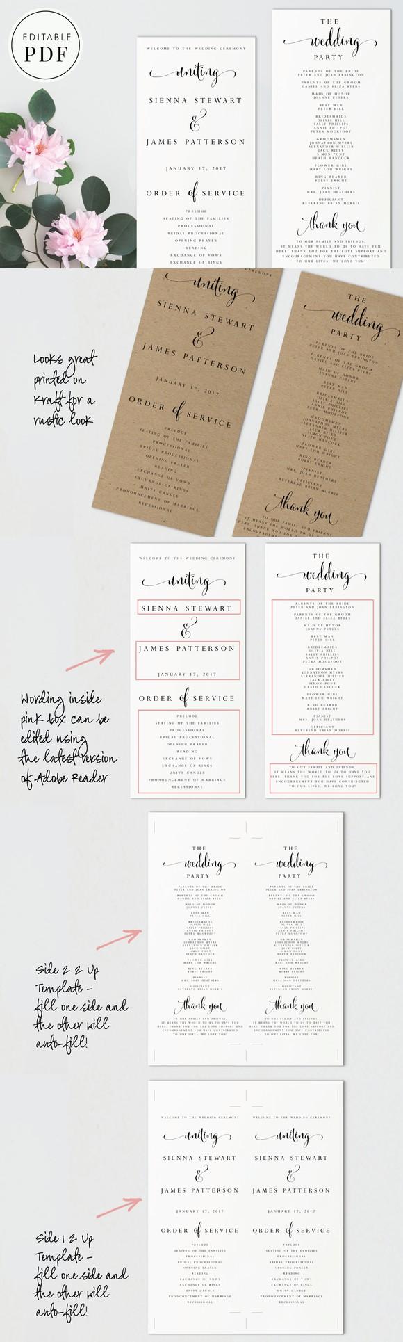 Wedding Program - Editable PDF. Wedding Fonts. $9.00