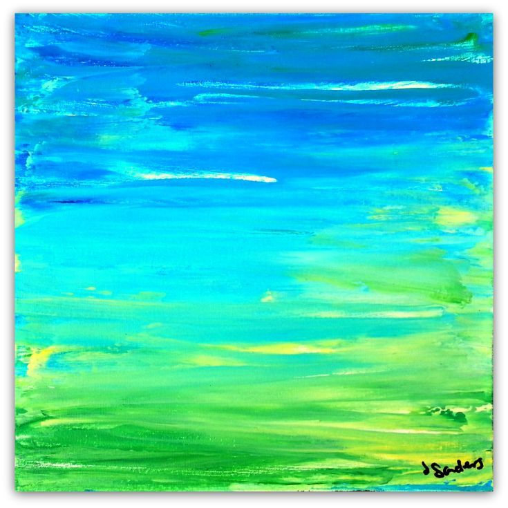 """ARTFINDER: The Ocean and the Land by Jessica Sanders - This colorful 12x12"""" abstract acrylic painting is inspired by the ocean.  My favorite place to spend time relaxing and refreshing is at the beach.  It holds ..."""