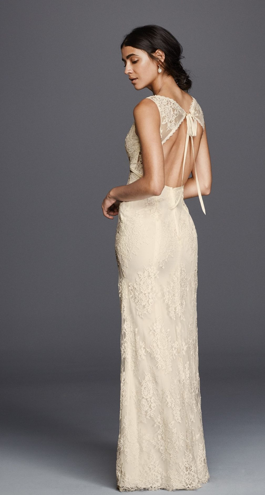 All over floral lace sheath wedding dress | Galina Flower Lace V ...