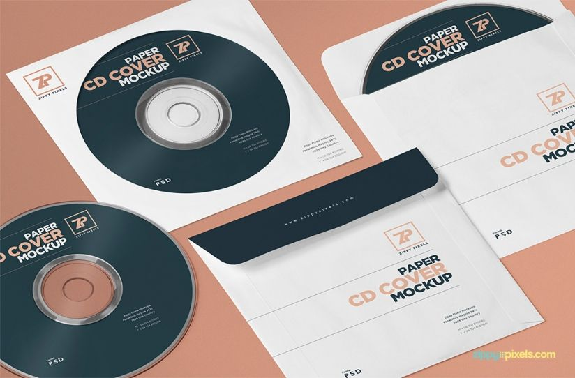 Free Paper CD Cover Mockup + CD Mockup PSD Mockup, Cd cover and - cd label