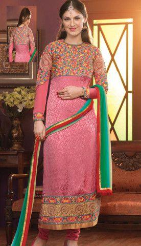 Beautiful Latest Pink Crepe Jacquard Party Wear Suit, Dress-KPW-54289-CA