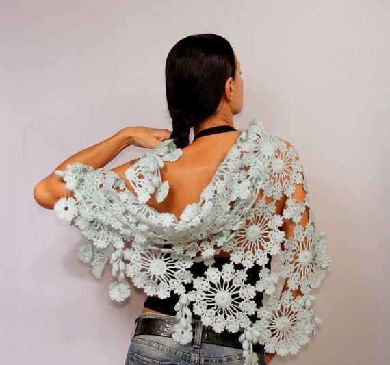 Private Dancer / ganchillo mantón de abrigo de la bufanda del mantón del cordón del Aqua hombro boda Mantón nupcial del encogimiento de hombros del mantón de la flor de Bolero dama de honor por Lilithist