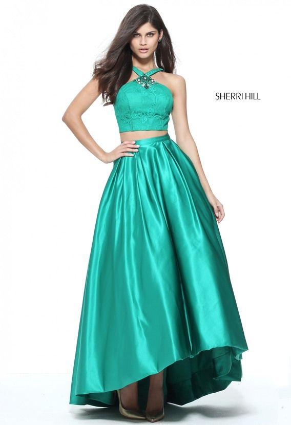 Cheap Sherri Hill 51162 Emerald Jeweled Halter Hi-Low Dress 2017