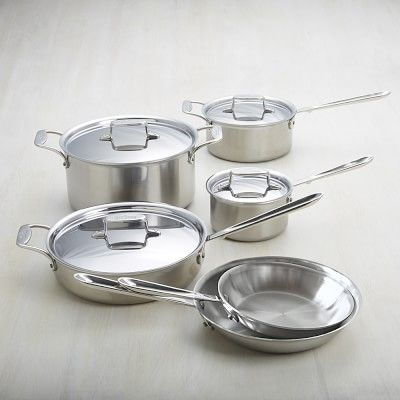 All Clad D5 Brushed Stainless Steel 10 Piece Set Cookware Set