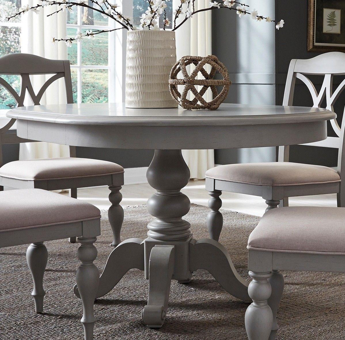 Summer House Dove Grey Round Extendable Dining Table Grey Dining