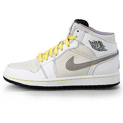 Nike Air Jordan 1 Phat Mens 364770-101 White Grey Yellow Basketball Shoes  Sz 9.5 b40ea6b52