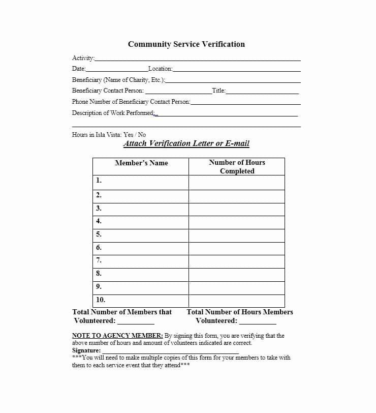 Community Service Verification Form Template Luxury Munity Service