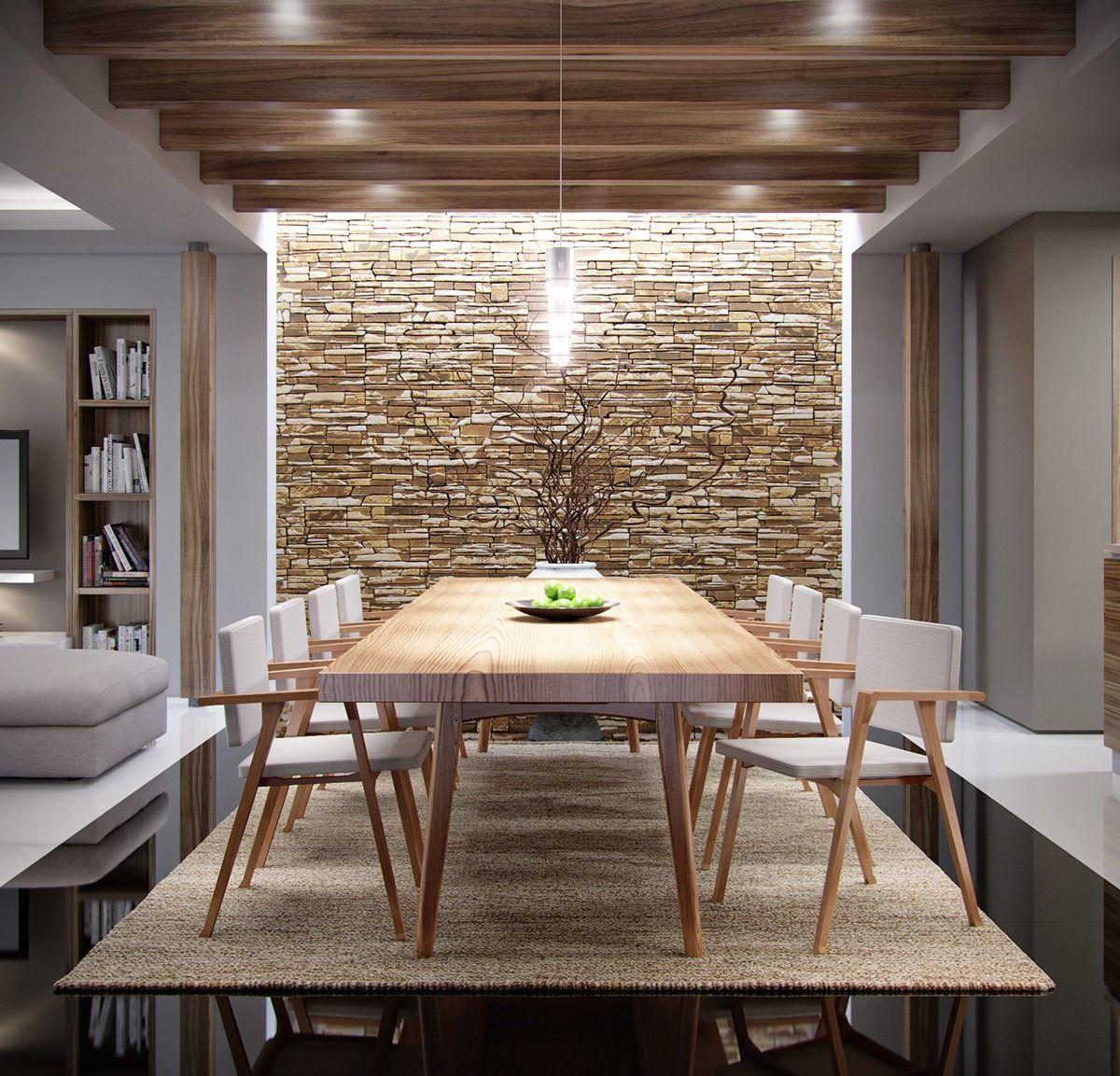 ambiance naturelle salle a manger  Mur en pierre salon, Déco