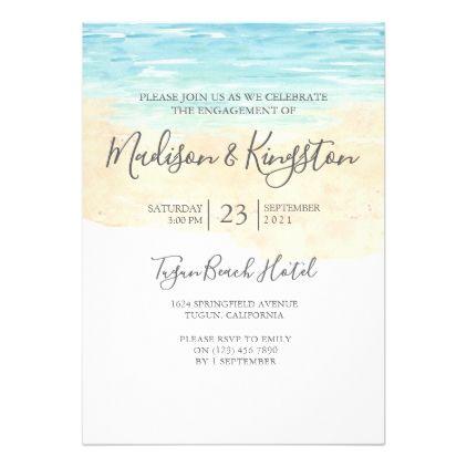 Watercolor Beach Blue Engagement Party Invitation Engagement party