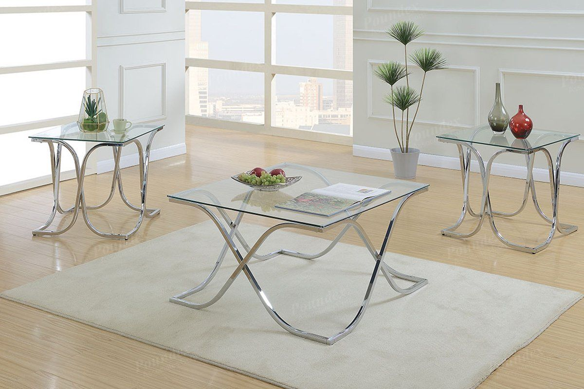 Best Silver Glass Finish 3 Piece Table Set Poundex In 2019 400 x 300