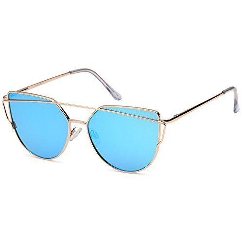 00c9d52c3a QINKY Womens Cat Eye Aviator Metal Frame Cross Bar Sunglasses with Mirror  Flash Flat Lens http