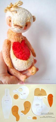 Выкройка панды Валеньки от Татьяны Паранчук #toy #teddy #template | игрушки | Шаблоны, Медведи и Сердце